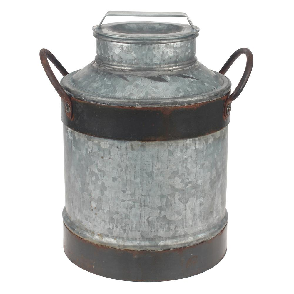 8 in. x 12 in. Aged Galvanized Milk Can, Grays