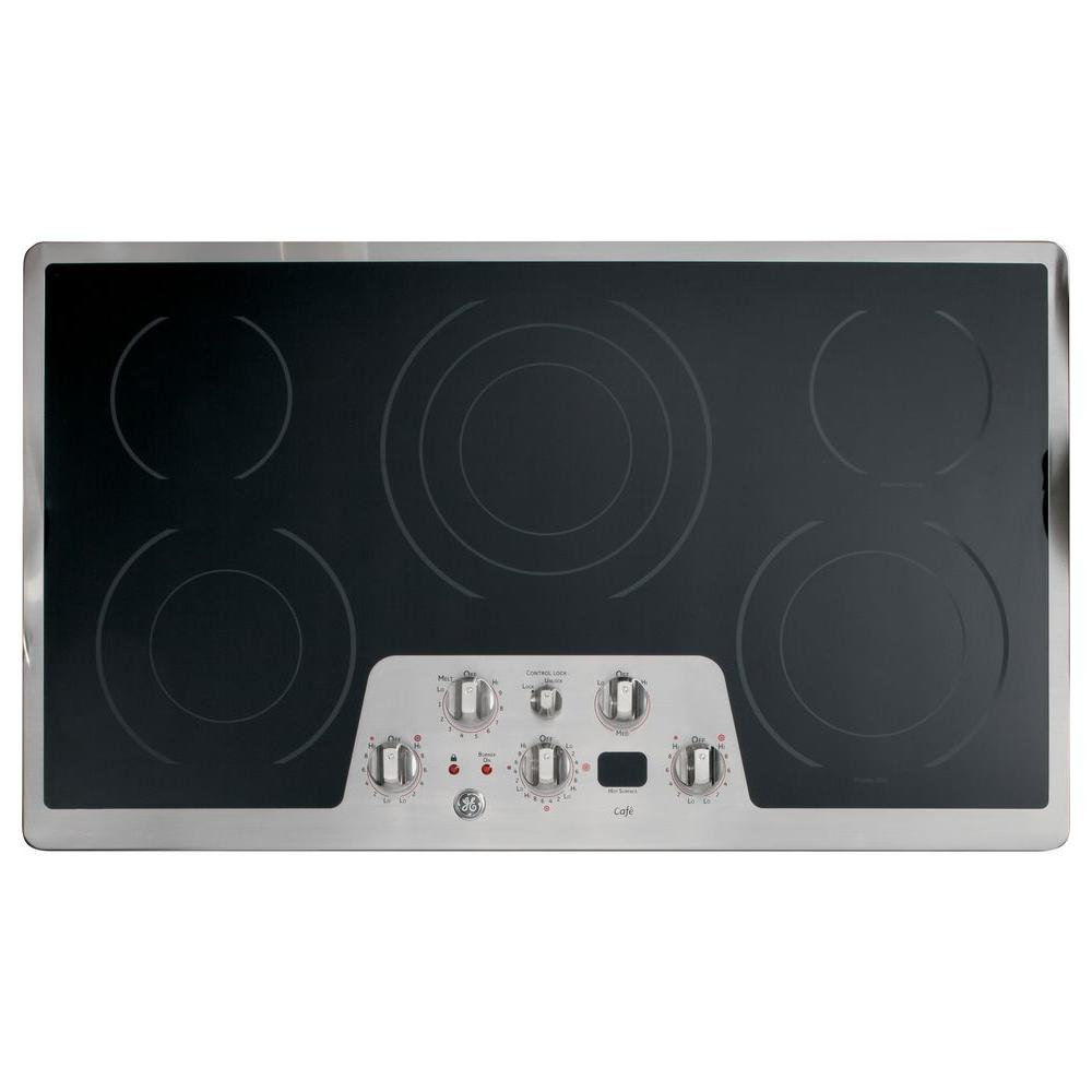 GE Cafe CleanDesign 36 in. Radiant Electric Cooktop in Stainless Steel with 5 Burners