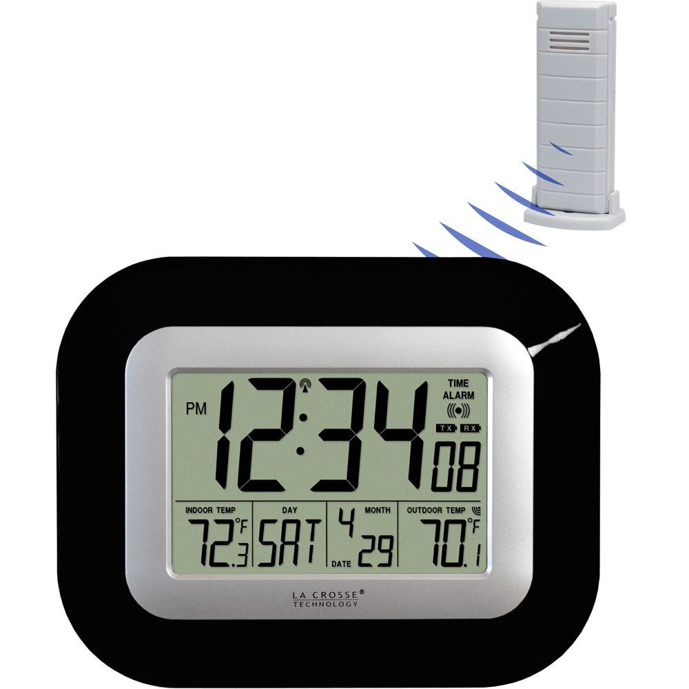 La Crosse Technology 9 in. x 7-1/4 in. Digital Atomic Black Wall Clock with Temperature