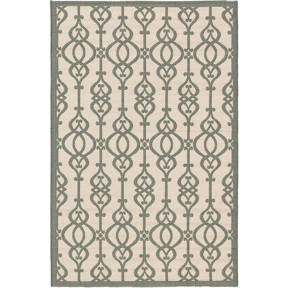 Ankara Cream, Teal 4 ft. 11 in. x 7 ft. 5 in. Area Rug, Ivory/Blue
