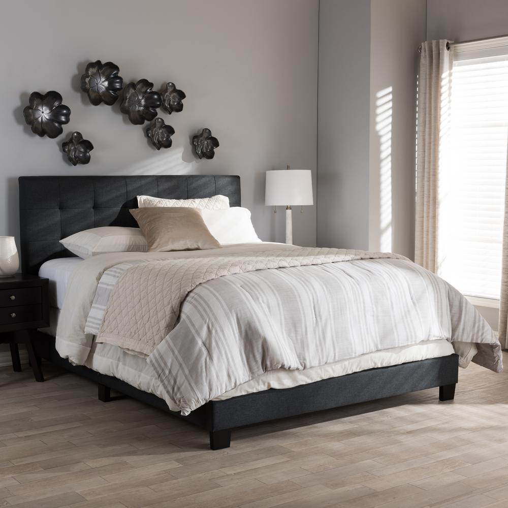 Baxton studio brookfield contemporary dark gray fabric for Charcoal grey bedroom