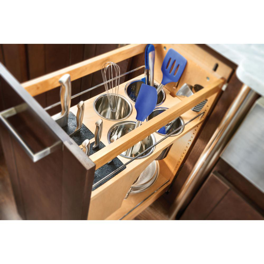 11 in. Pull-Out Wood Base Cabinet Organizer with Knife Block and