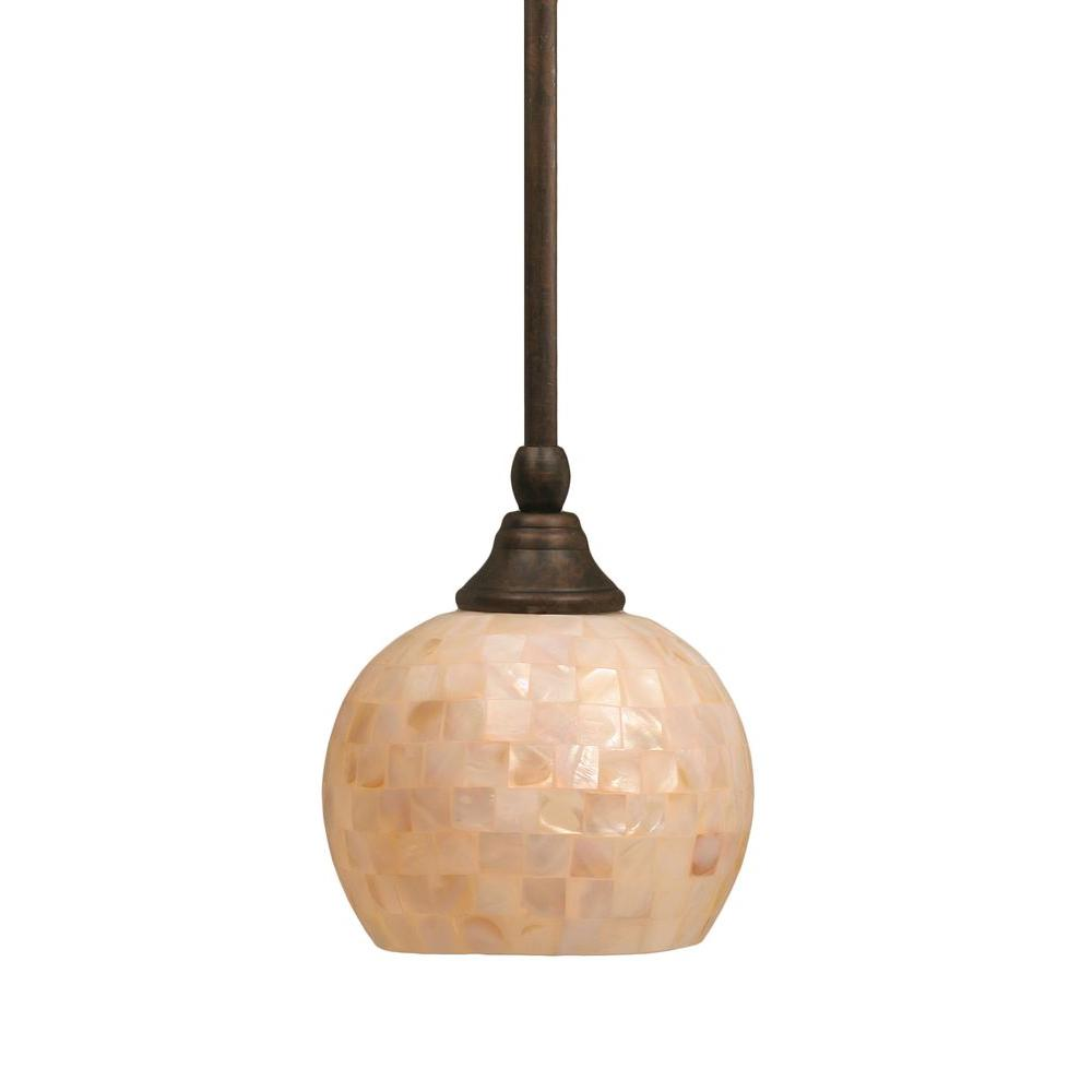 Ashmore 1-Light Bronze Pendant with Seashell Glass