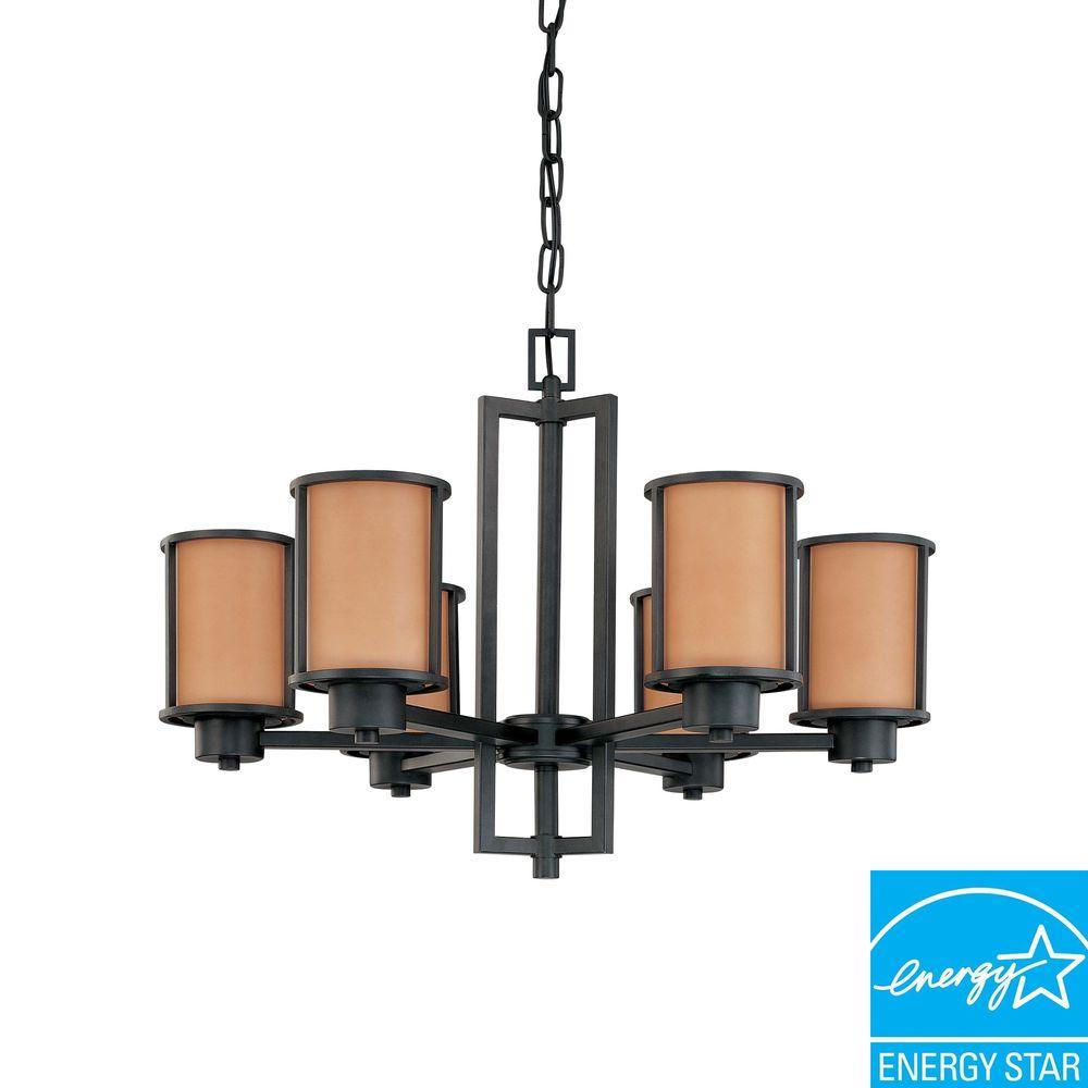 Green Matters Odeon 6-Light Hanging Aged Bronze Chandelier-DISCONTINUED