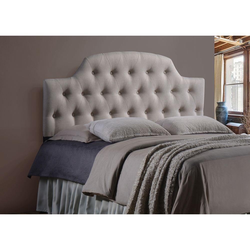 Baxton Studio Morris Fabric Queen Upholstered Button-Tufted Scalloped Headboard
