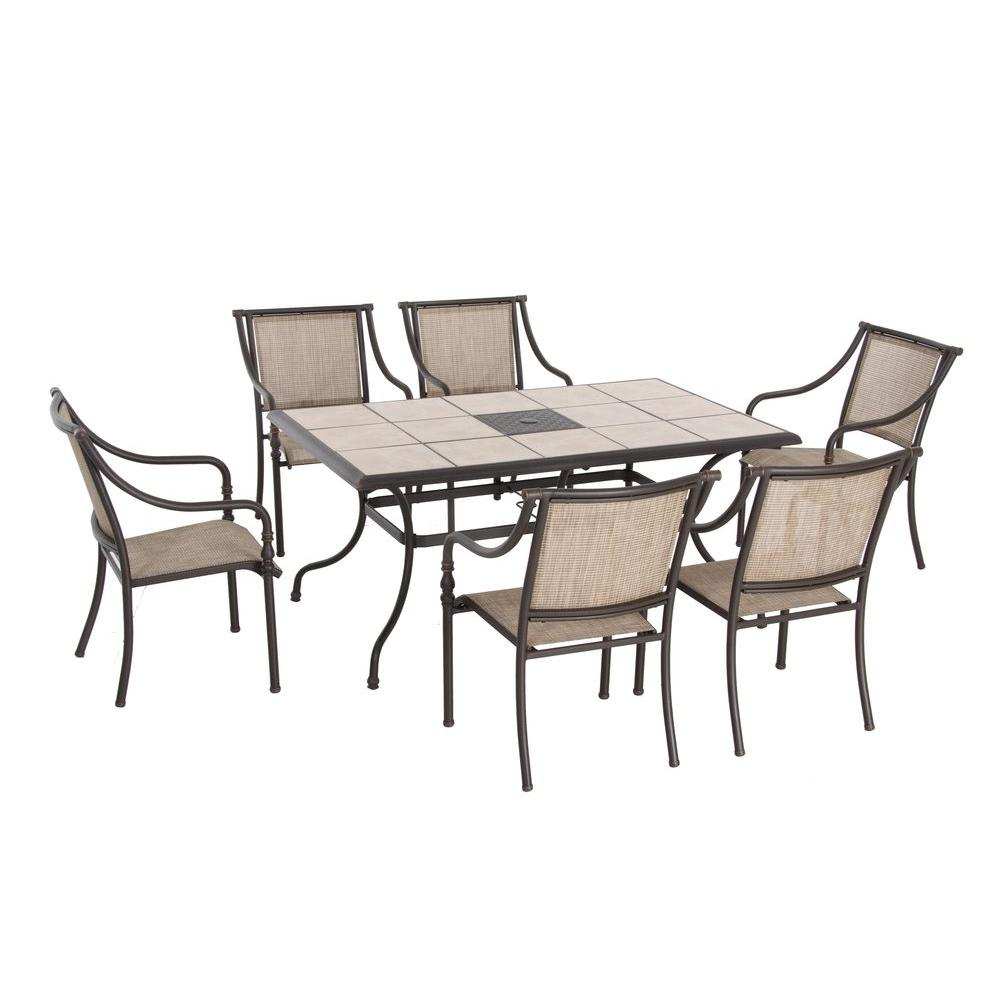 Hampton Bay Andrews Sling Patio Dining Chairs (6-Pack)-DISCONTINUED