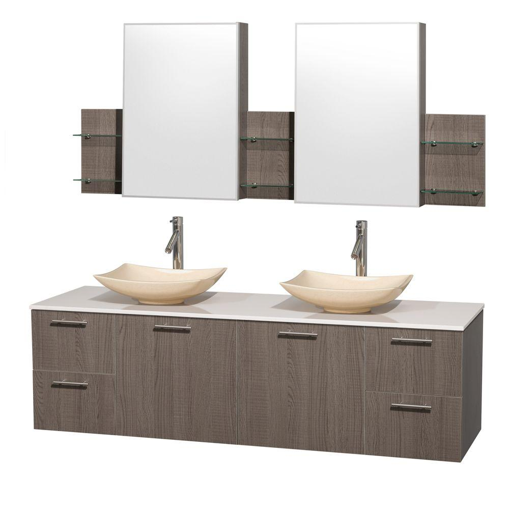 Amare 72 in. Double Vanity in Gray Oak with Solid-Surface Vanity