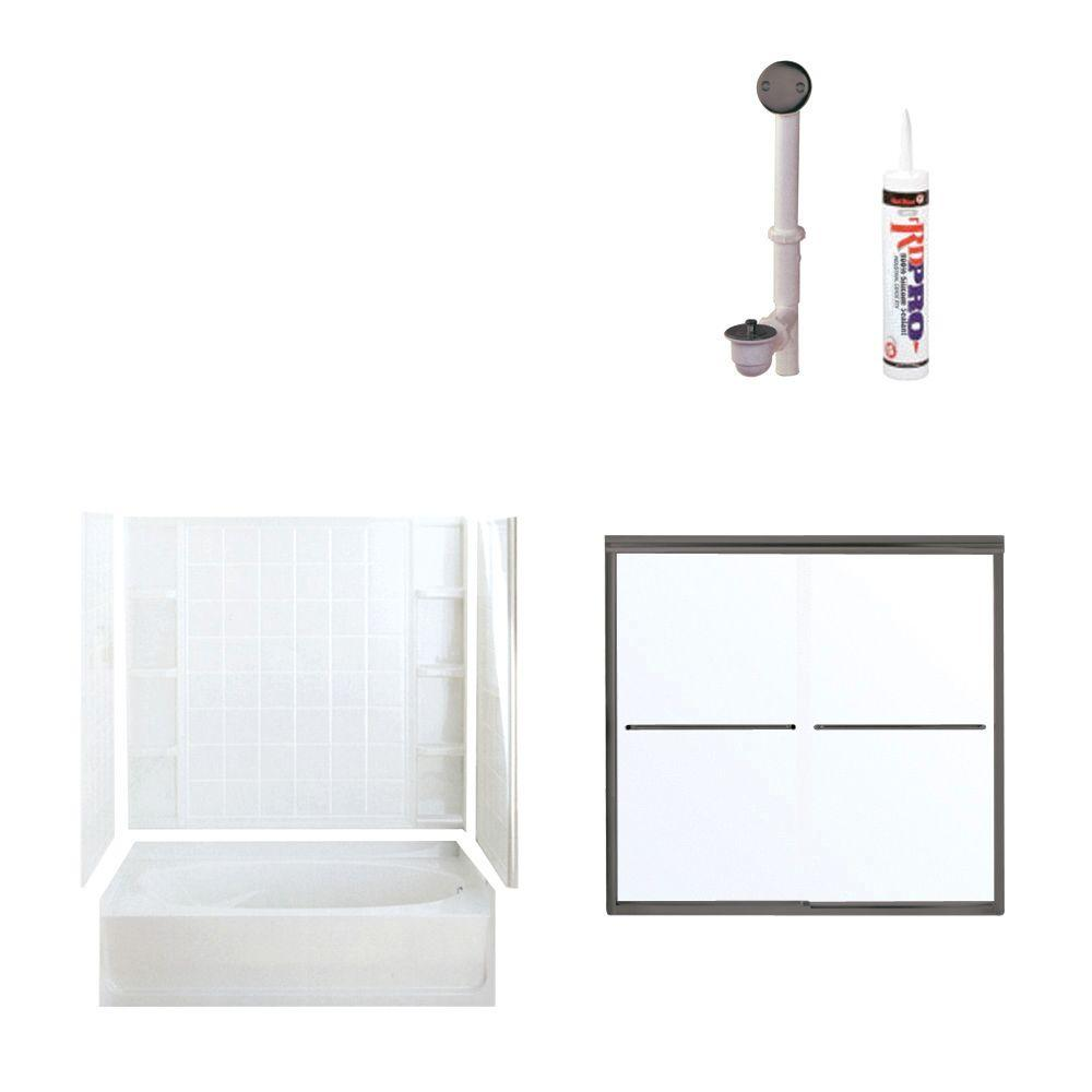 STERLING Ensemble 60 in. x 36 in. x 72 in. Bathtub Kit with Right-Hand Drain in White with Oil Rubbed Bronze Trim-DISCONTINUED