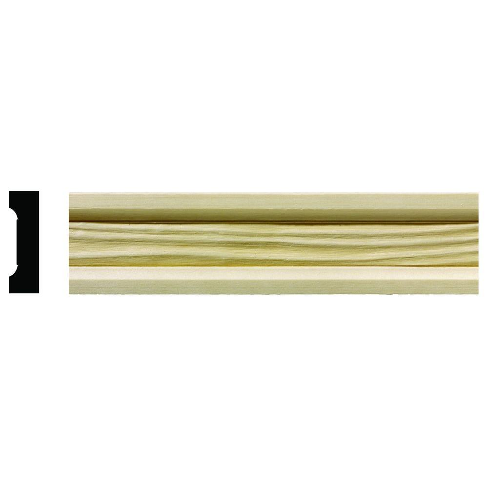 Ornamental Mouldings 1/2 in. x 1-3/4 in. x 96 in. Hardwood White Unfinished Wave Small Chair Rail Moulding