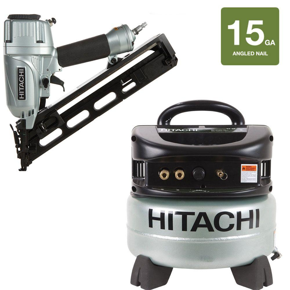 Hitachi 2-Piece 2.5 in. x 15-Gauge Angled Finish Nailer and 6 gal. Oil-Free Pancake Compressor