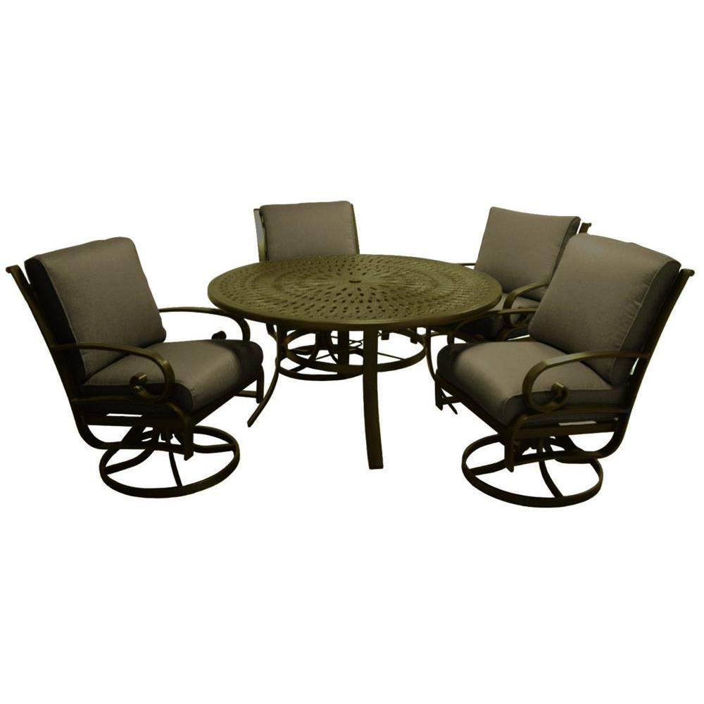 Tradewinds Valle Vista 5-Piece Canvas Cocoa and Olympic Gold Patio Dining Set-DISCONTINUED