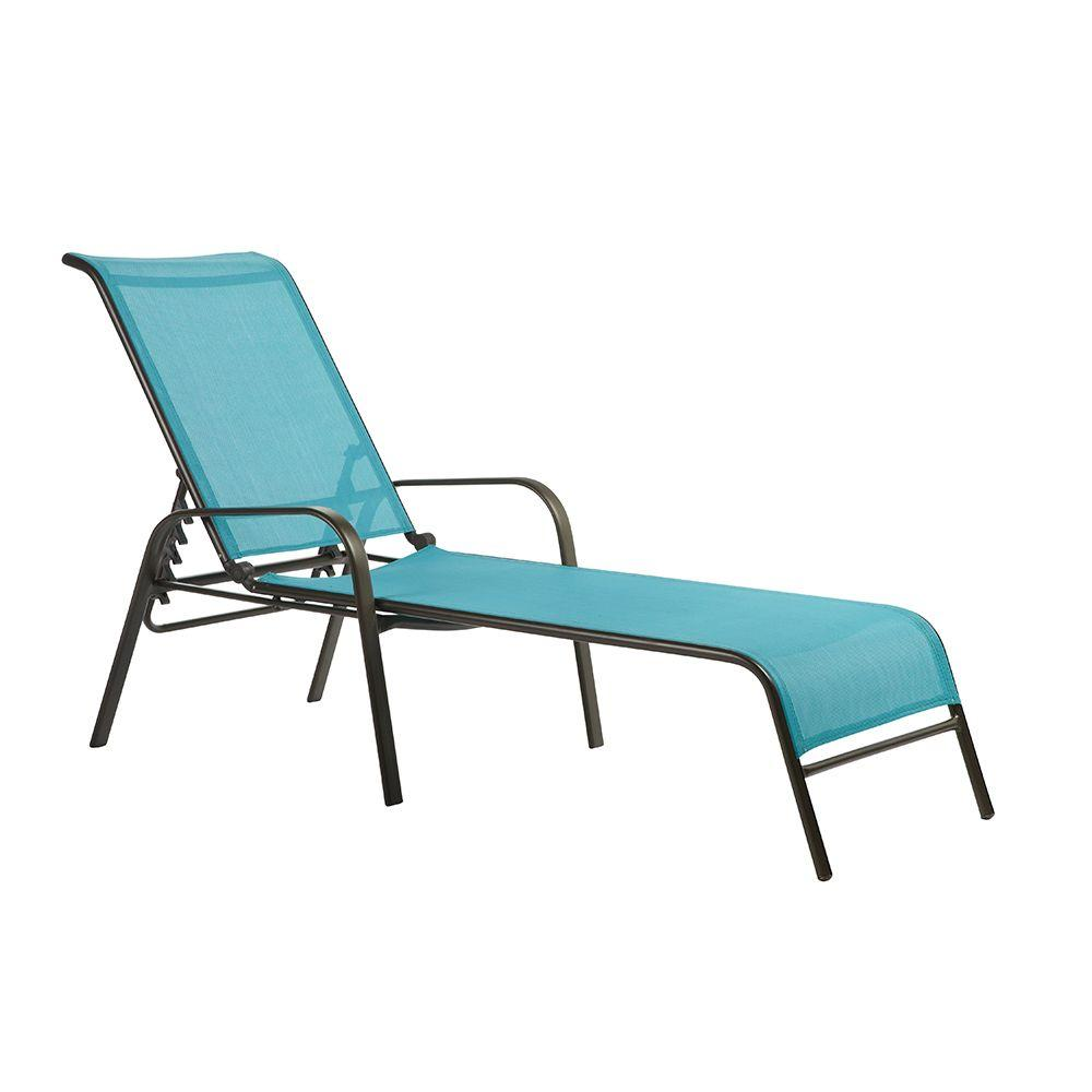 Home Decorators Collection Patio Sling Chaise Lounger in Blue (Set of 2)