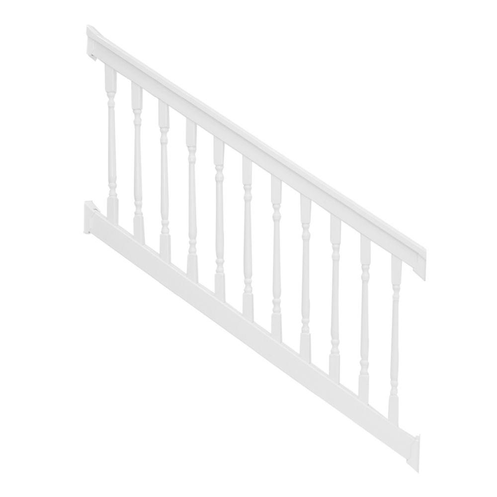 Weatherables Delray 3.5 ft. x 96 in. Vinyl White Stair Railing