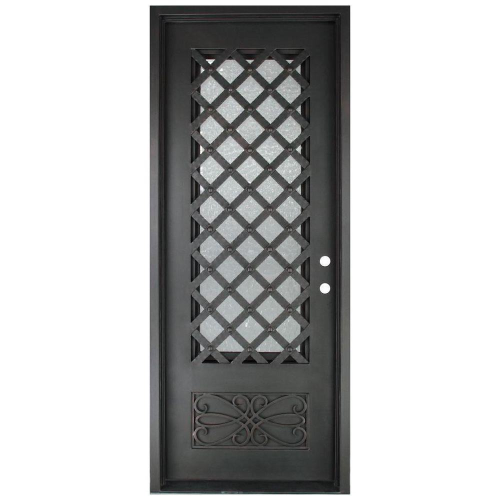 Iron Doors Unlimited 40 in. x 97.5 in. Luce Lattice Classic 3/4 Lite Painted Oil Rubbed Bronze Hammered Wrought Iron Prehung Front Door