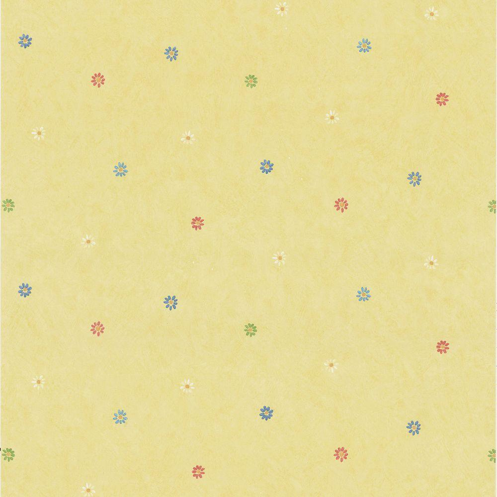 56 sq. ft. Abby Lee Yellow Flowers Wallpaper, Multicolor