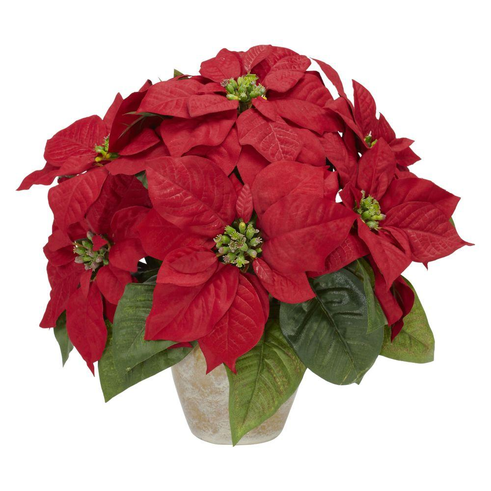 Nearly Natural 13.0 in. H Red Poinsettia with Ceramic Vase Silk Flower Arrangement