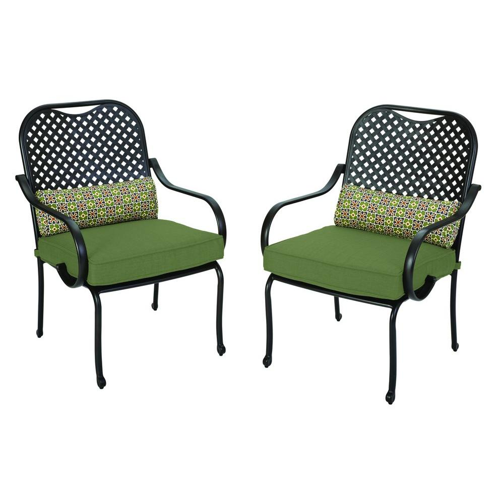 Hampton Bay Fall River Patio Dining Chair with Moss Cushion 2 Pack DY