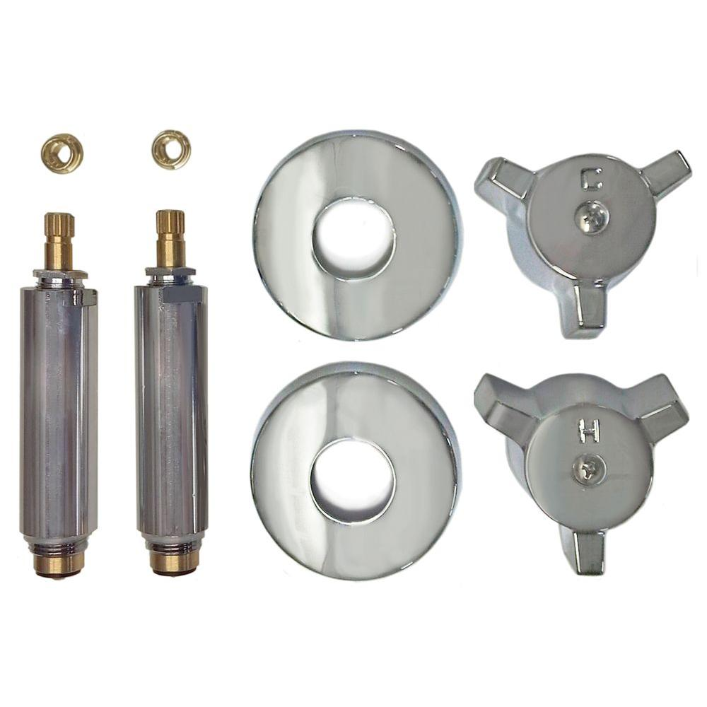 2 Valve Rebuild Kit for Tub and Shower with Chrome Handles