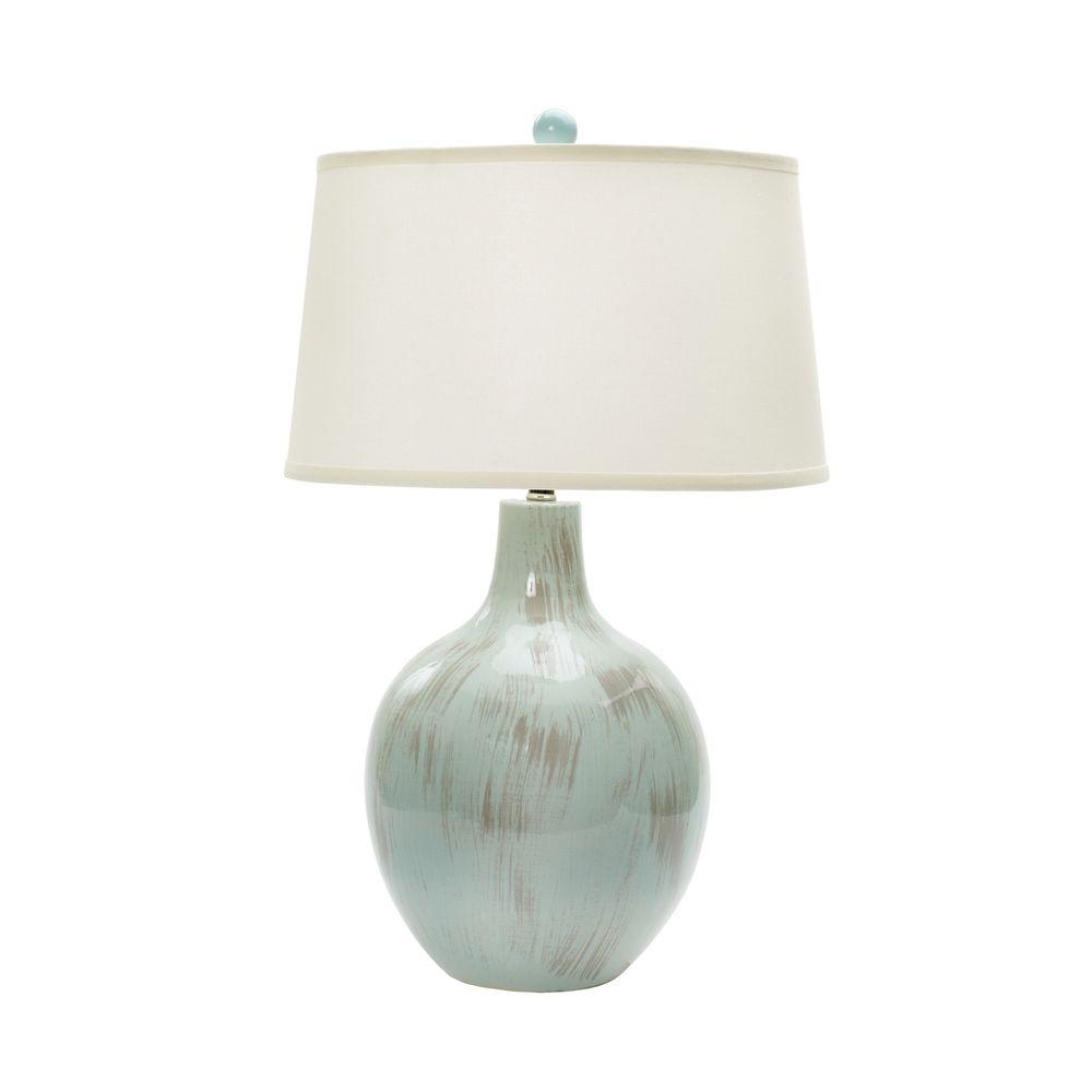 28 in. Rustic Spa Blue Crackle Ceramic Table Lamp