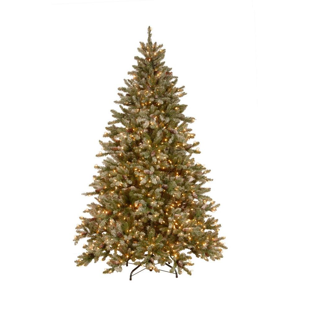 National Tree Company 7.5 ft. Pre-Lit Snowy Pine Artificial Christmas Tree with Clear Lights and Pine Cones