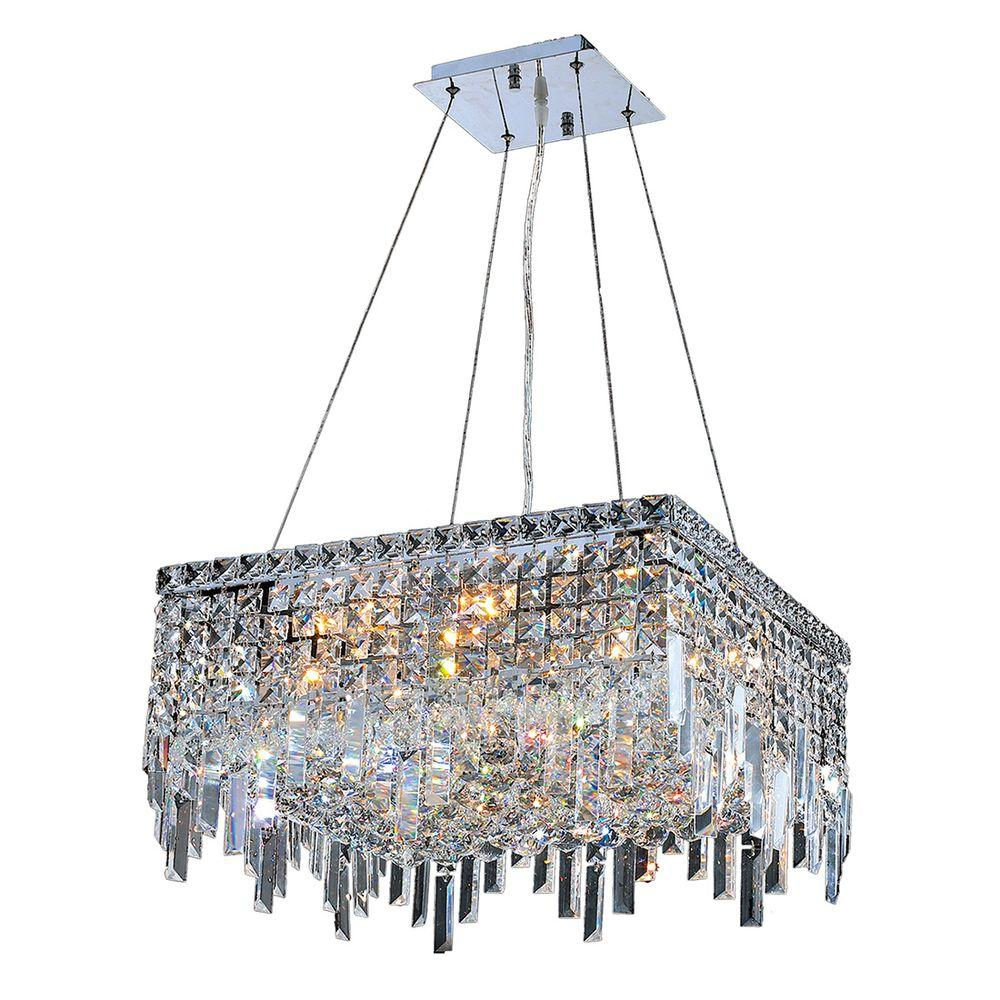 Cascade Collection 12-Light Chrome and Clear Crystal Chandelier