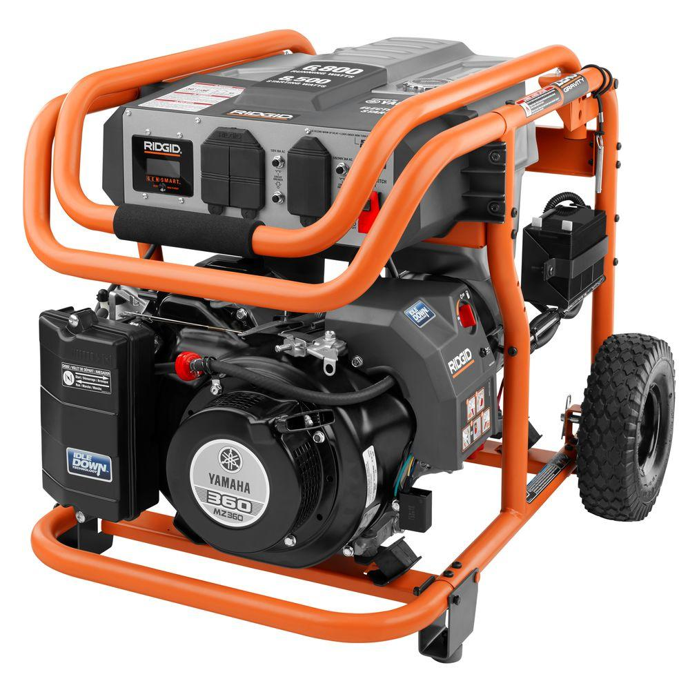 ridgid 6 800 watt idle down gasoline powered electric start 6 800 watt idle down gasoline powered electric start portable generator yamaha mz360