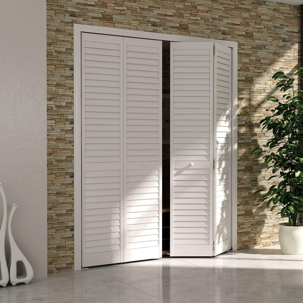 White Louver Solid Core Wood Interior Closet Bi Fold Door DPBPLLW32   The  Home