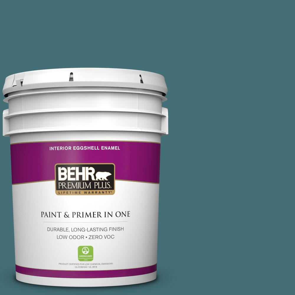 5 gal. #HDC-CL-22 Sophisticated Teal Zero VOC Eggshell Enamel Interior Paint