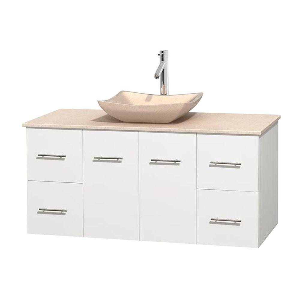 Wyndham Collection Centra 48 in. Vanity in White with Marble Vanity Top in Ivory and Sink