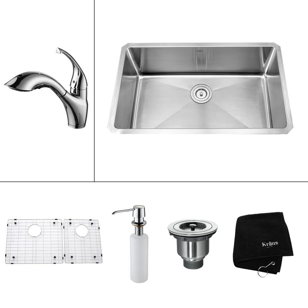 KRAUS All-in-One Undermount Stainless Steel 30x18x11 in. 0-Hole Single Bowl Kitchen Sink with Chrome Accessories