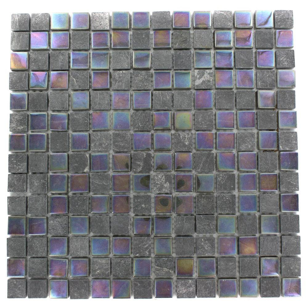 Splashback Tile Tectonic Squares Black Slate and Rainbow Black 12 in. x 12 in. x 8 mm Glass Floor and Wall Tile