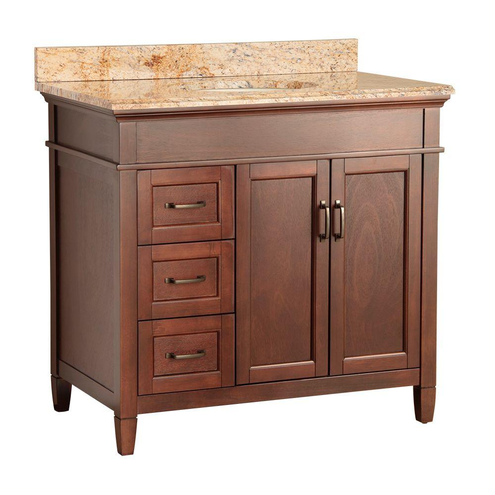 null Ashburn 37 in. W x 22 in. D Vanity in Mahogany with Vanity Top and Stone Effects in Tuscan Sun