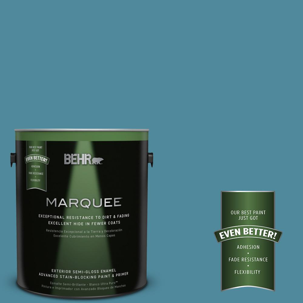 BEHR MARQUEE 1-gal. #S460-5 Blue Square Semi-Gloss Enamel Exterior Paint