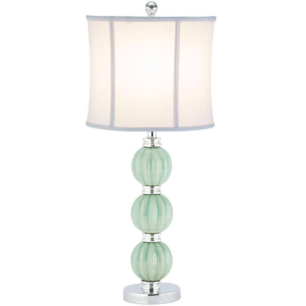 Stephanie 25 in. Green Globe Table Lamp with Off-White Shade