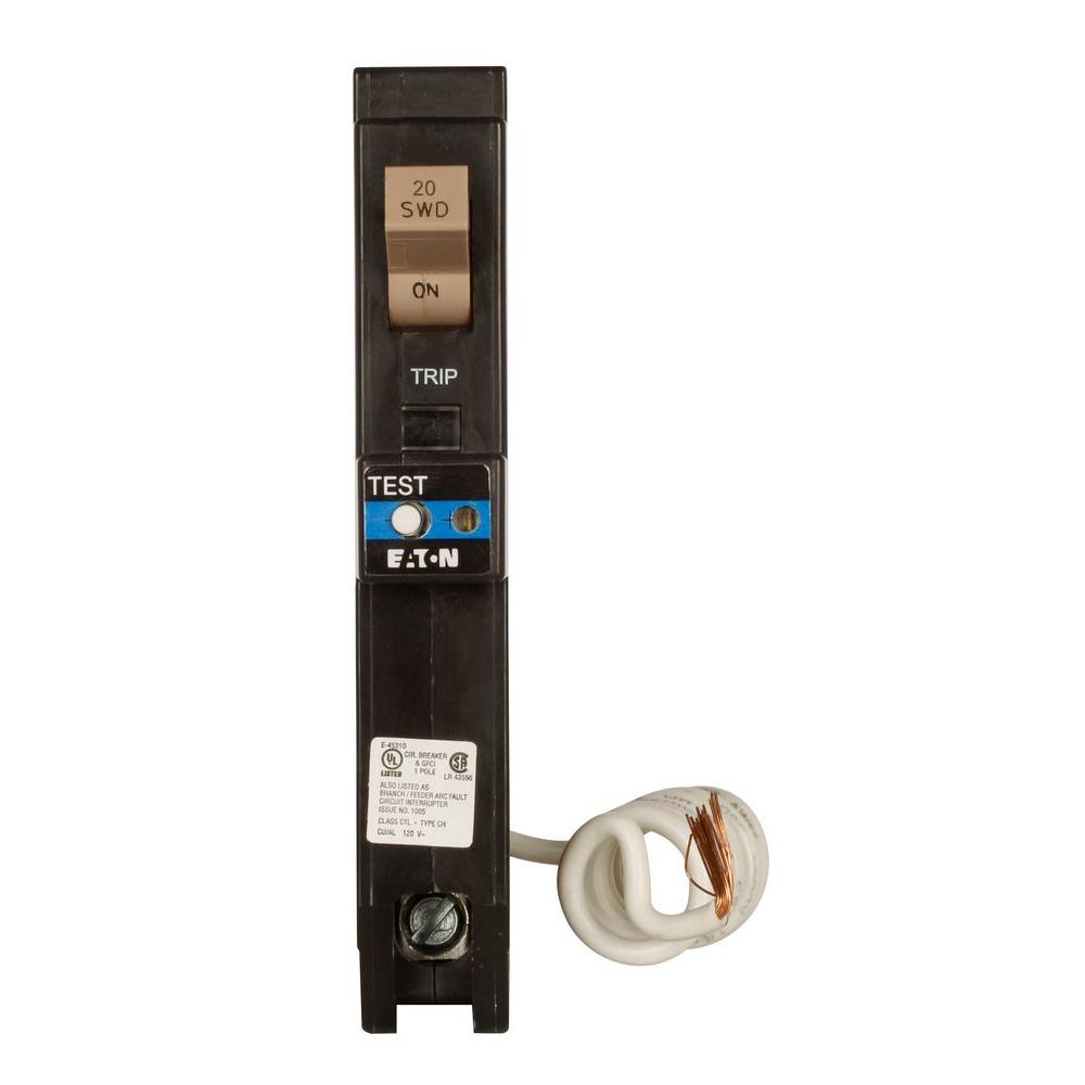Eaton 20 Amp Single-Pole 3/4 in. Type CH Dual Function Arc