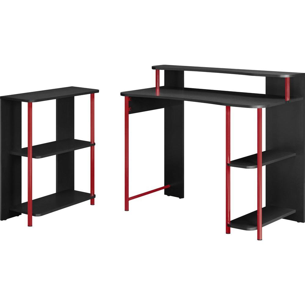 Altra Furniture Computer Desk and 5-Shelf Bookcase Set in Red and Black