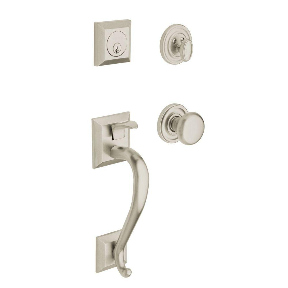 Madison Single Cylinder Satin Nickel Handleset with Classic Knob