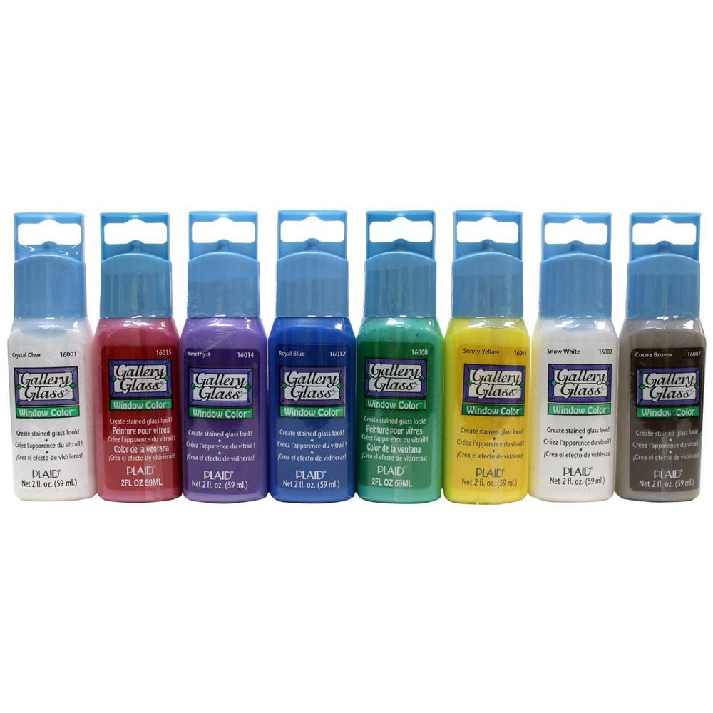 Gallery glass 2 oz window color acrylic paint set 8 for Can i paint glass with acrylic paint