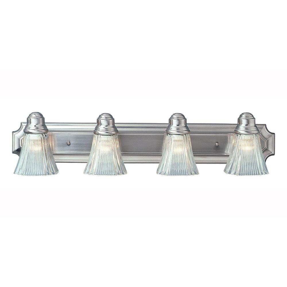 4-Light Brushed Nickel Bath Bar Light with Clear Ribbed Glass Shades