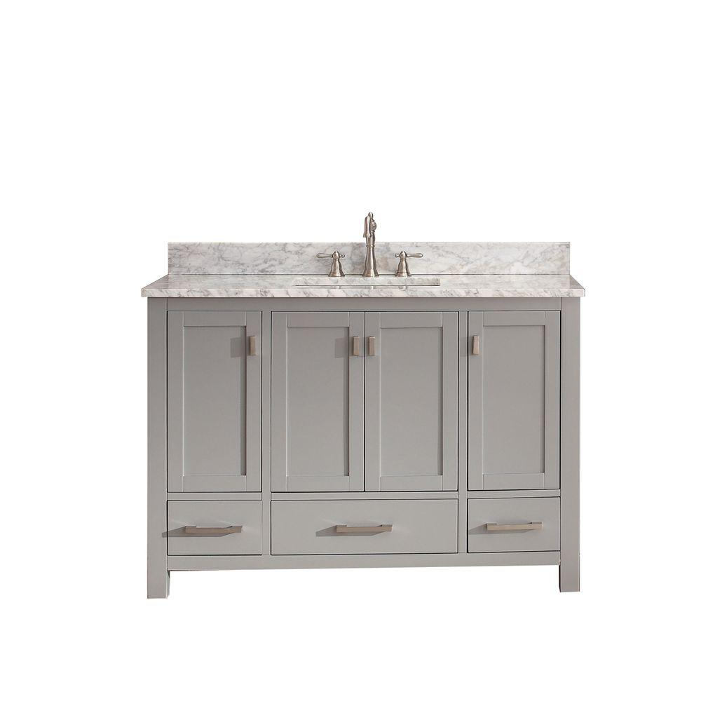 Avanity Modero 49 in. W x 22 in. D x 35 in. H Vanity in Chilled Gray with Marble Vanity Top in Carrera White and White Basin