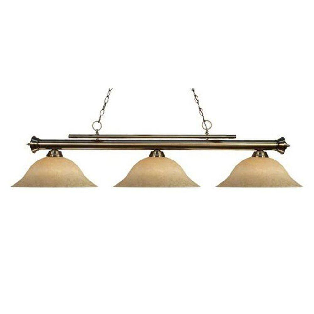 Tulen Lawrence 3 Light Ceiling Antique Brass Incandescent Island Pendant-DISCONTINUED