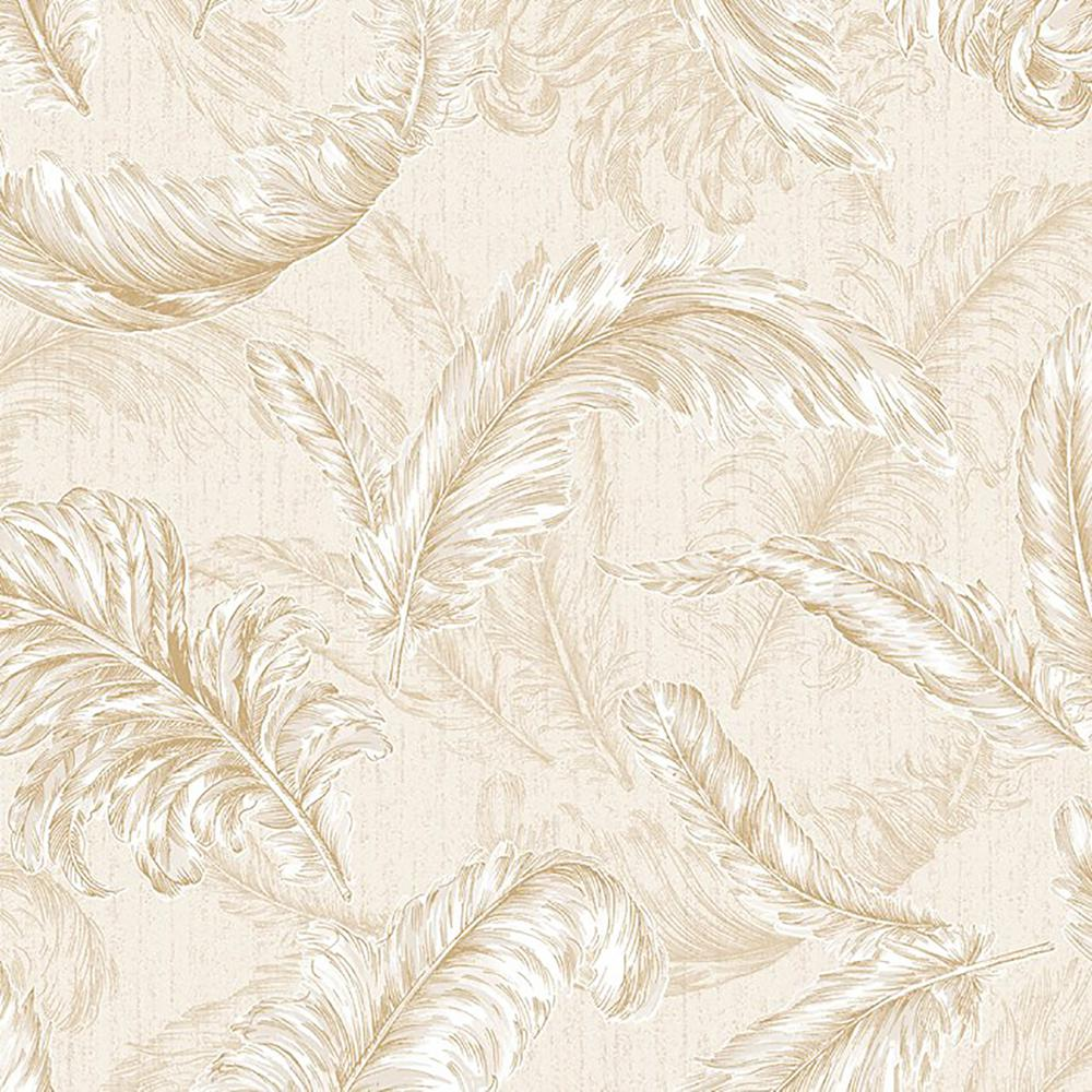 Cream and Gold Gilded Feather Removable Wallpaper