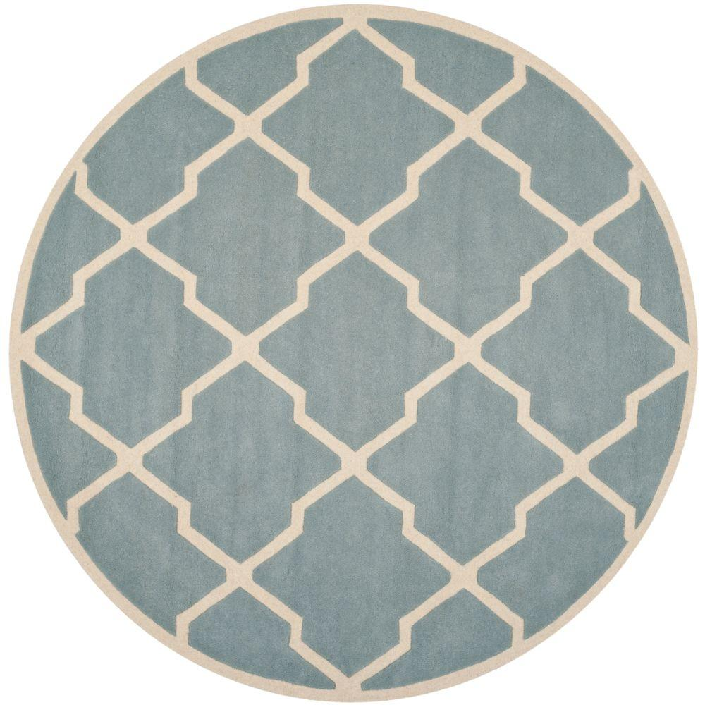Safavieh Indoor/Outdoor Area Rug: Safavieh Rugs Chatham Blue/Ivory 7 ft. Round Blue / Ivory CHT735B-7R