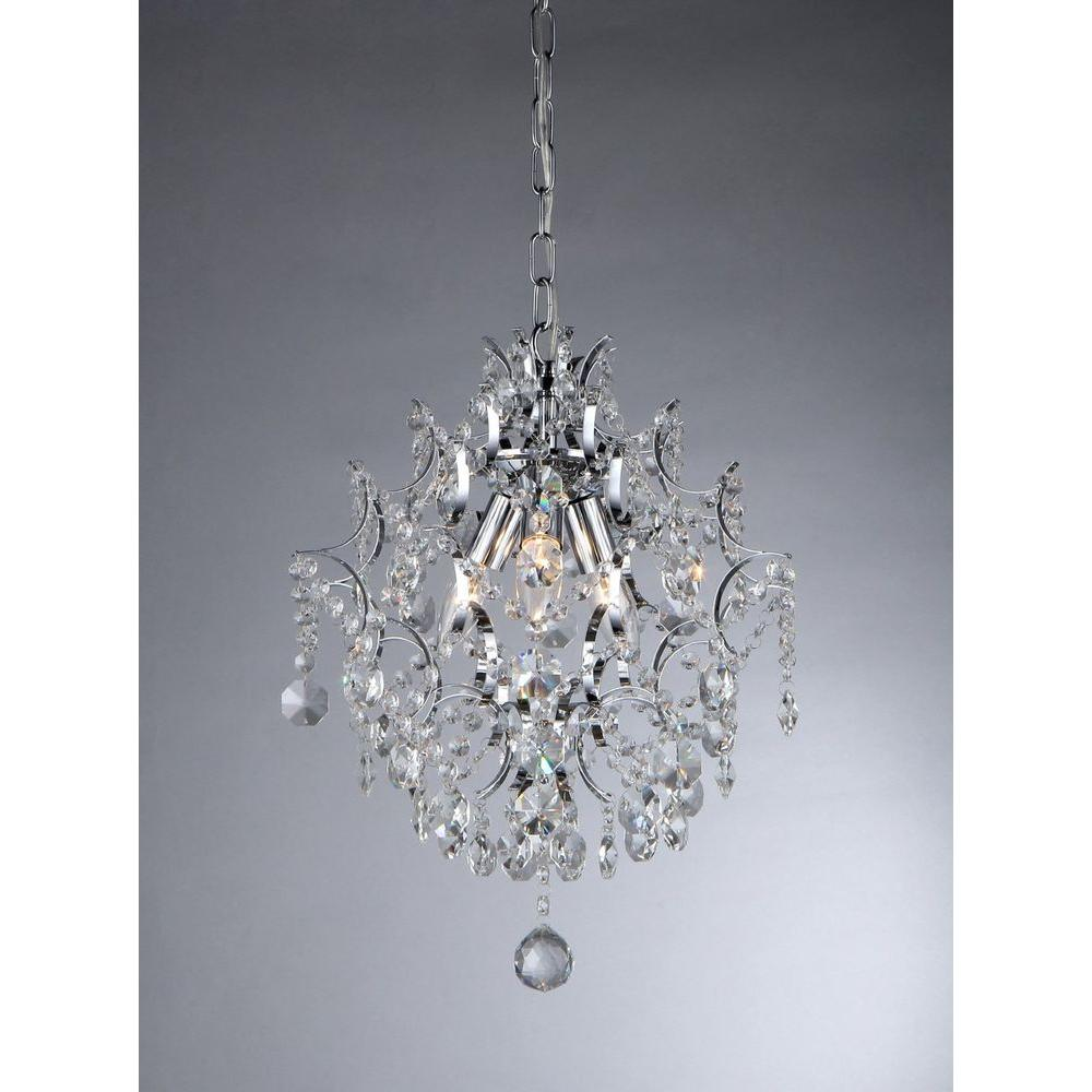 Warehouse of Tiffany Ellaisse 3-Light Chrome Crystal Chandelier
