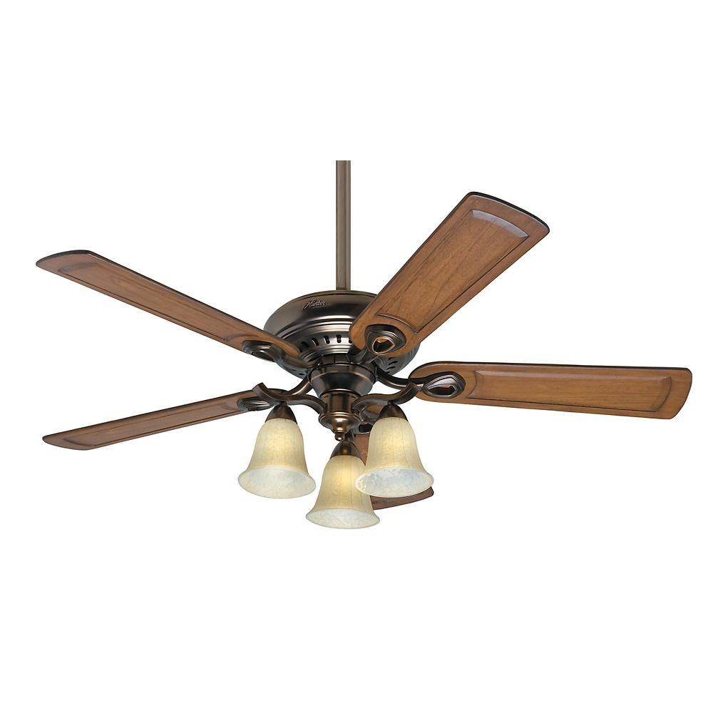 Ceiling fan light kit pictures ideas lighting models - Indoor Bronze Patina Ceiling Fan With Light Kit