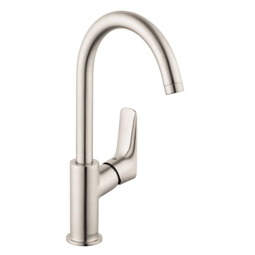 hansgrohe logis 210 single hole single handle bathroom faucet with drain in brushed nickel. Black Bedroom Furniture Sets. Home Design Ideas