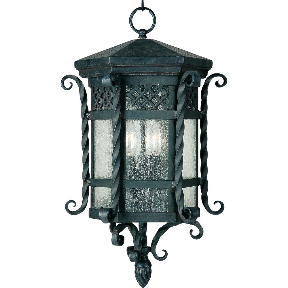 Maxim Lighting Scottsdale 3-Light Country Forge Outdoor Hanging Lantern
