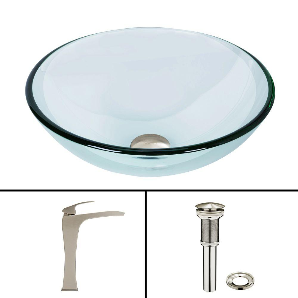 Glass Vessel Sink in Crystalline and Blackstonian Vessel Faucet Set in