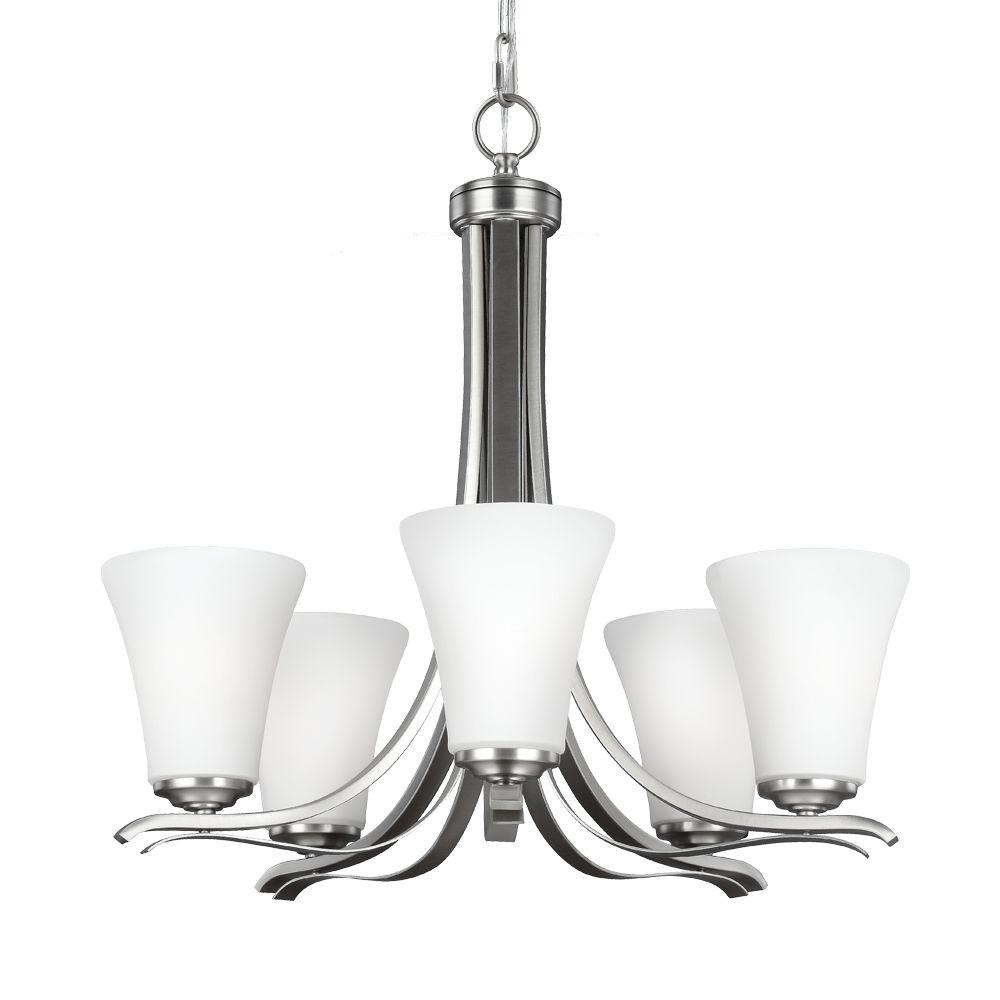 Summerdale 5-Light Satin Nickel Single Tier Chandelier with Glass Shade