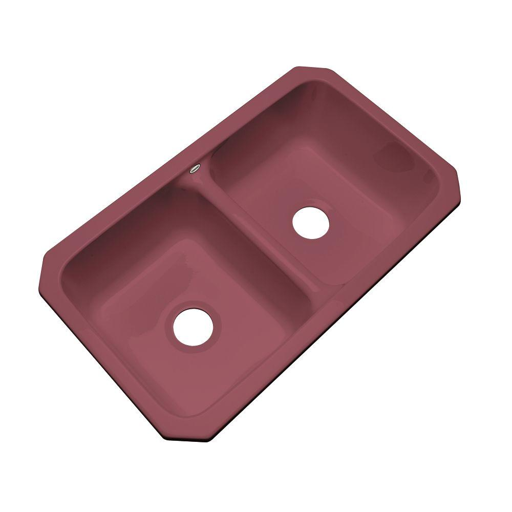 Thermocast Newport Undermount Acrylic 33x19.5x9 in. 0-Hole Double Basin Kitchen Sink in Raspberry Puree